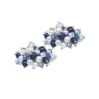 """Orecchini con bouquet di perle e cristalli Swarovski ispirazione """"Inverno"""""""