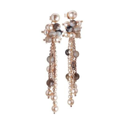 Orecchini con pendente a ciuffetto di perle Swarovski peach e pietre mix brown