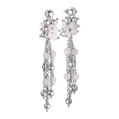 Orecchini con pendente a ciuffetto di perle Swarovski white e quarzo rosa