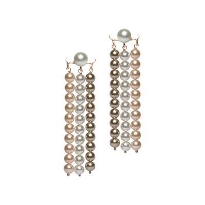 Orecchini con fili di perle Swarovski bronze, peach e white