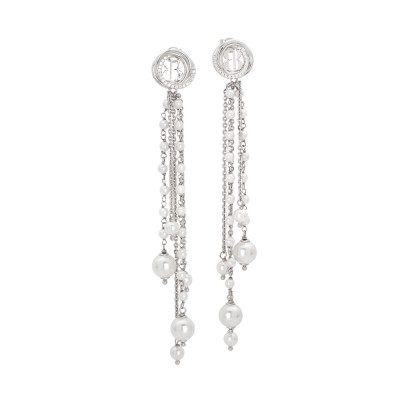 Orecchini in argento con fili di perle Swarovski pendenti