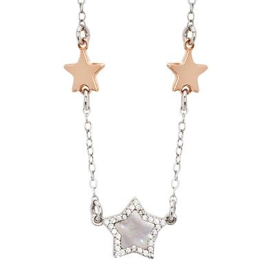 Collana con stelle placcate oro rosa, madreperla e zirconi