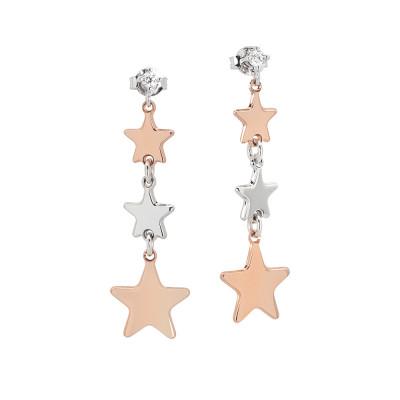 Orecchini pendenti con stelle bicolor