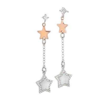 Orecchini pendenti con stelle bicolor, madreperla e zirconi