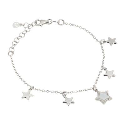 Bracciale con stelle pendenti, madreperla e zirconi