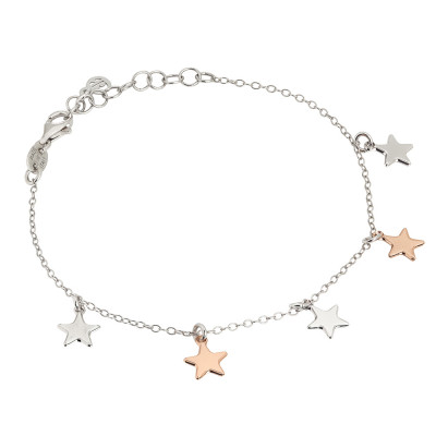 Bracciale con stelle bicolor pendenti