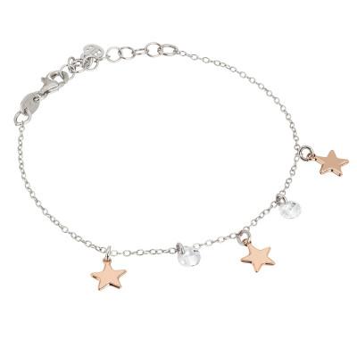 Bracciale con stelle rosate ed elementi circolari di zirconi