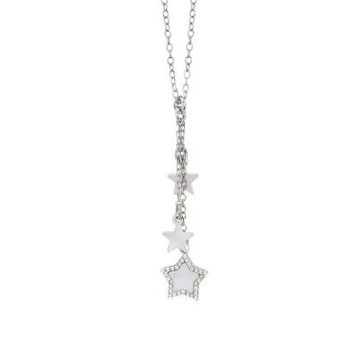 Collana con pendente a ciuffetto di stelle in madreperla e zirconi