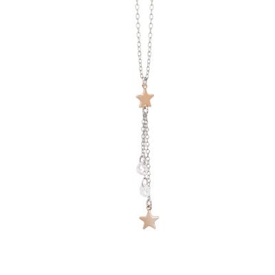 Collana con pendente a ciuffetto di zirconi e stelle