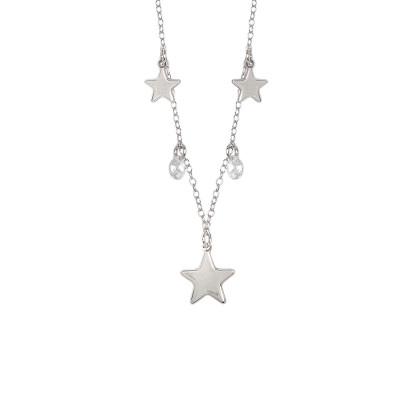 Collana con stelle rodiate e zirconi pendenti