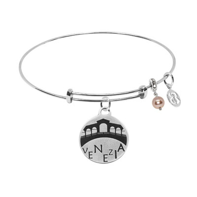 """Bracciale con medaglietta """"Venezia"""" e perla Swarovski"""