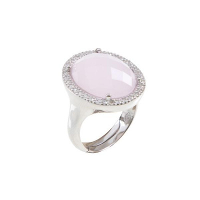 Anello cocktail con cristallo briolette rosa e zirconi