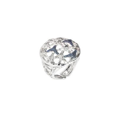 Anello rodiato con decoro in glitter silver