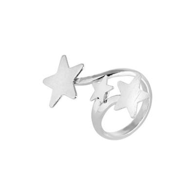 Anello contrariè rodiato con stelle degradè