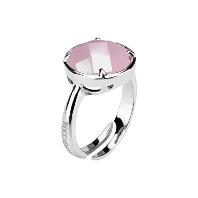 Anello con quarzo rosa milk