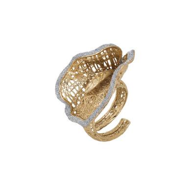 Anello dorato con calla in glitter silver
