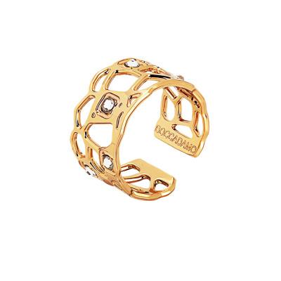 Anello dorato a fascia con trama a rete e Swarovski