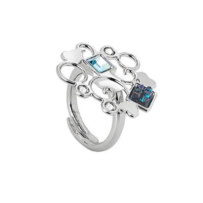 Anello rodiato con decoro in cristalli Swarovski