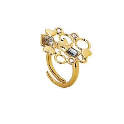 Anello dorato con decoro in cristalli Swarovski