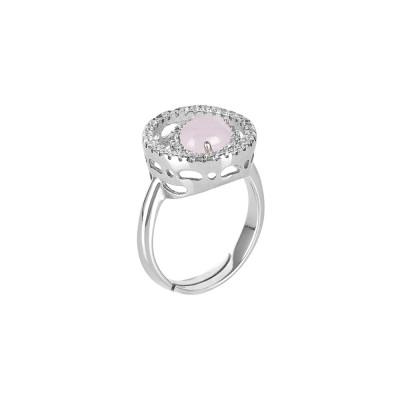 Anello con base di zirconi e cabochon rosa chiaro