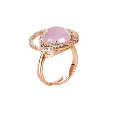 Anello doppia base di zirconi e cabochon rosa chiaro