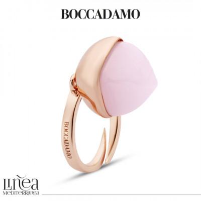 Anello placcato oro rosa con cristallo pendente quarzo rosa
