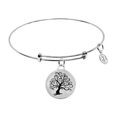 Bracciale con medaglietta Dove la vita inizia e l'amore non finisce mai e albero della vita