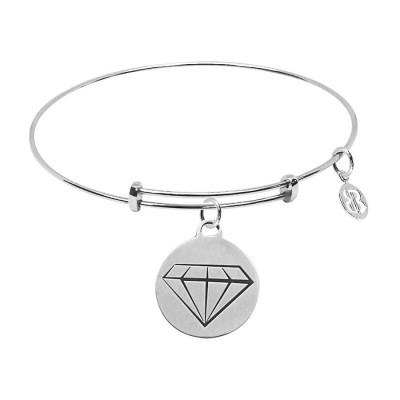 """Bracciale con medaglietta """"Sei un tesoro"""" e diamante"""