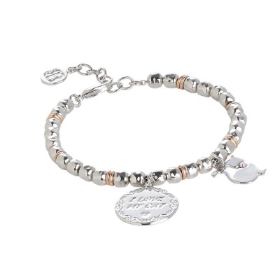 "Bracciale beads con medaglietta ""I love my cat"""