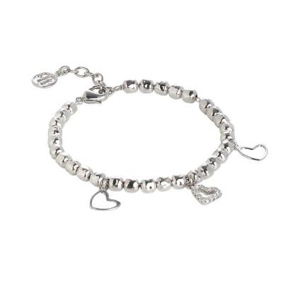 Bracciale beads con charms a cuore e zirconi