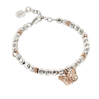 Bracciale beads con farfalla rosata