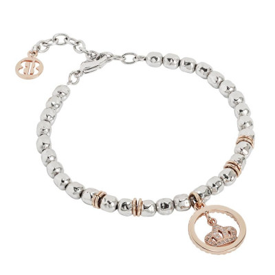 Bracciale beads con corona rosata e zirconi
