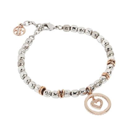 Bracciale beads con cuore rosato e zirconi