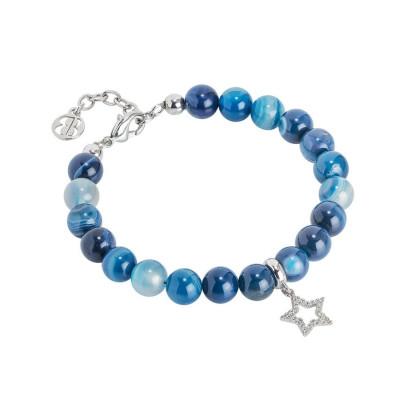 Bracciale con agata mix blu e stella zirconata