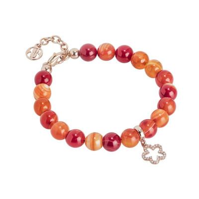 Bracciale rosato con agata orange  e fiore zirconato