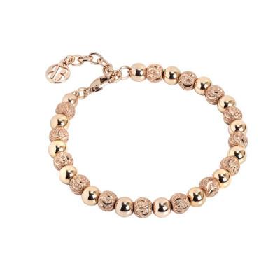 Bracciale rosato con sfere lisce e diamantate