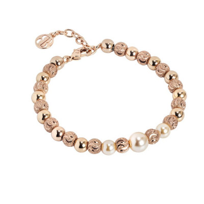 Bracciale con perla centrale Swarovski peach