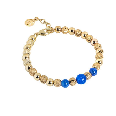 Bracciale con perle di agata blu