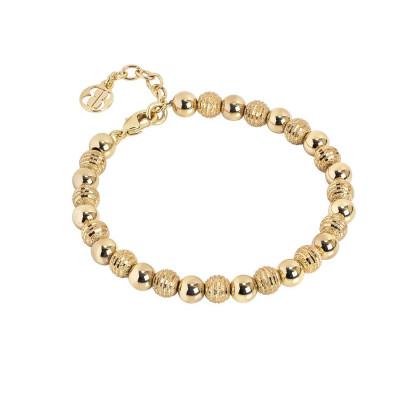 Bracciale dorato con sfere lisce e diamantate