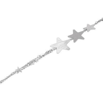 Bracciale doppio filo rodiato con stelle