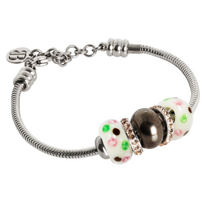 Bracciale morbido con passante in ceramica marrone, murrine e strass