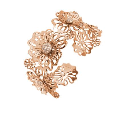 Bracciale rigido rosato con rose selvatiche tridimensionali e zirconi