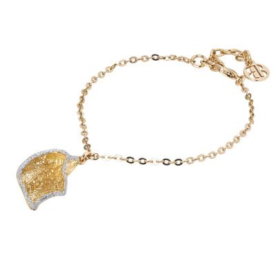 Bracciale dorato con calla in glitter silver