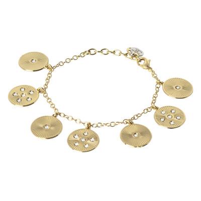 Bracciale dorato con charms radiale e Swarovski