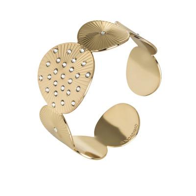 Bracciale dorato a fascia con decoro radiale e Swarovski