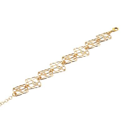 Bracciale modulare dorato con trama a rete e Swarovski