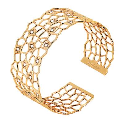 Bracciale a fascia dorato dalla trama a rete e Swarovski