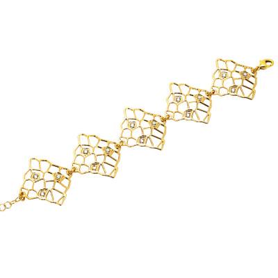 Bracciale dorato con moduli asimmetrici e Swarovski