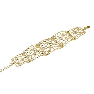 Bracciale semirigido dorato dalla trama a rete e Swarovski