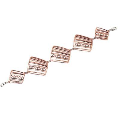 Bracciale modulare rosato con rombi di cristalli Swarovski